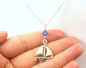 Sailboat Necklace- choose a birthstone, Sailboat Jewelry, Boat Pendant, Sailboat Gift, Boat Necklace, Sailing Jewelry, Sailing Gift, Sail