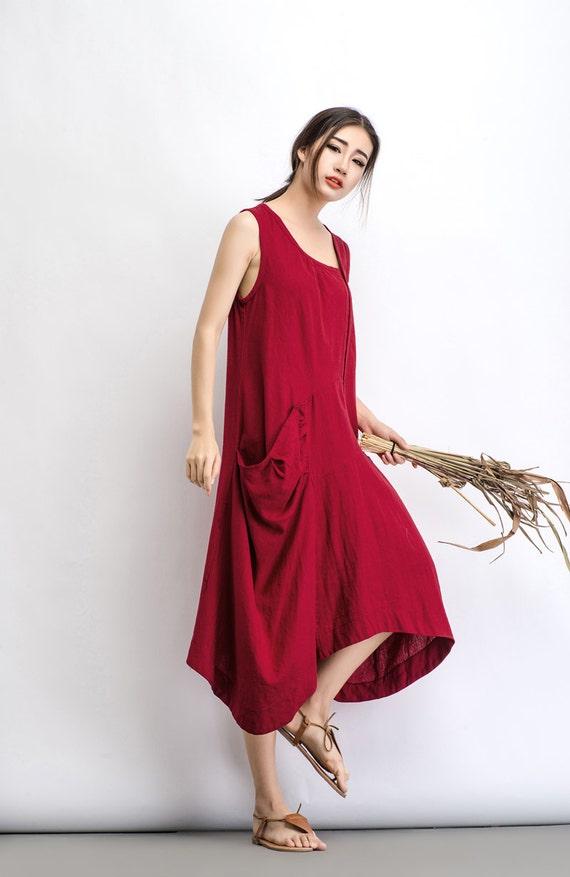 Linen Dress Plus Size Dress Maxi Dress Summer Dress Red