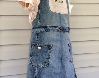 Upcycled denim full length women's apron