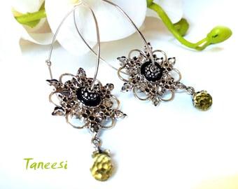 Silver HOOP Earrings,Large handmade 925 Sterling Silver Earrings,yellow topaz Flower Hoop earrings, Hammered Sterling Hoops Taneesi Jewelry