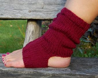 Knit Yoga Socks, Hand Knit Flip Flop Socks, Dance Socks,Toe-less Socks,  Knitted Spats, Piyo Socks, Yoga Wear, Knitted  Pedicure socks