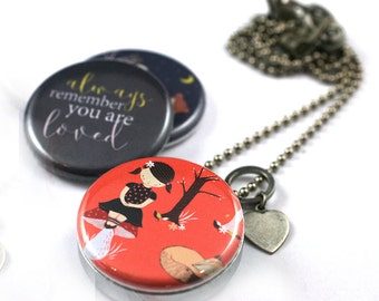 Personalized Daughter Locket • Daughter Necklace • You Are Loved Jewelry • Daughter Gift • 3 in 1 • Magnetic • Gift for Her • Recycled Steel