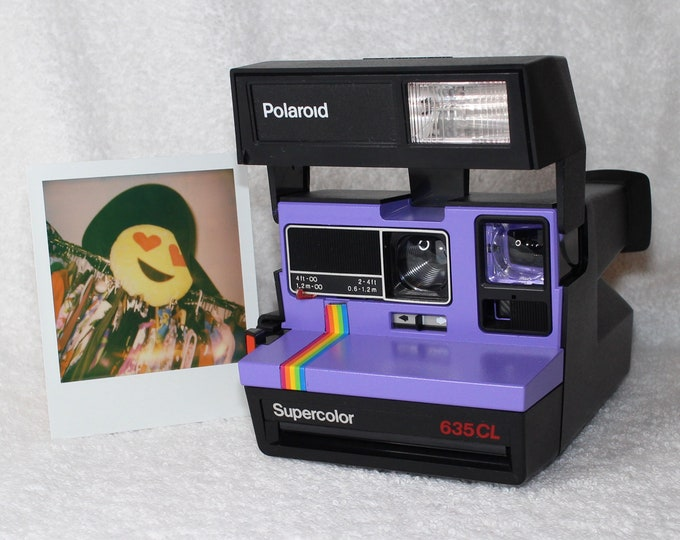 Upcycled Purple Rainbow Polaroid Supercolor 635CL With CloseUp Lens