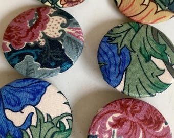 Liberty of London Floral Fabric Pin Back Buttons, Set of 3