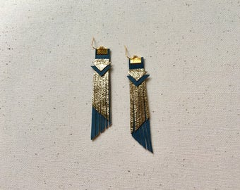 Metallic Gold And Green Leather Fringe Statement Earrings