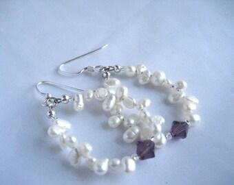 Pearl and crystal hoop earrings