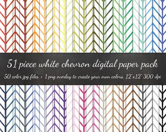 80% OFF SALE Digital Scrapbook Modern Narrow Chevron White Pack - 50 Colors & Overlay to DIY - Digital Scrapbook Paper Digital Paper Pack