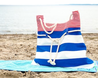 Amrum, the summer beach bag, nautical tote bag, in red, white and navy blue. Cotton ropes handles. Summer bag. Everyday purse. Strandtasche