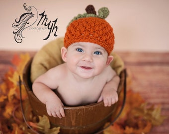 Crochet pumpkin hat/ baby pumpkin hat/ fall hat/ halloween baby hat in infant and toddler sizes