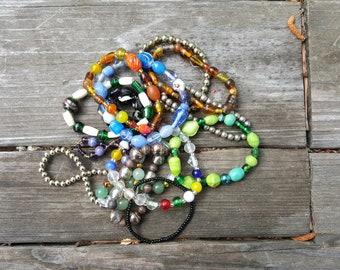 Vintage Lot of Beaded Bracelets - Elastic Bracelets - Friendship Bracelets