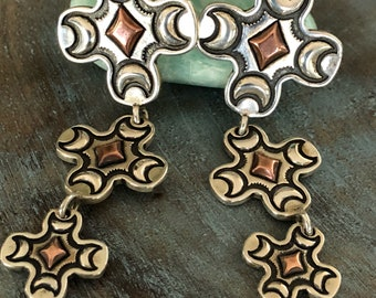 Sterling and copper Native American earrings