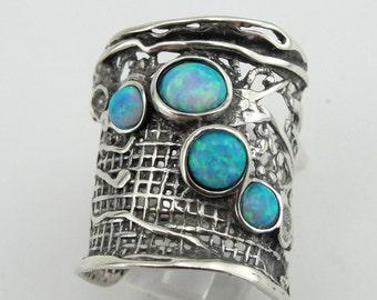 Hadar Jewelry Handcrafted 925 Sterling Silver Opal Ring size 8, Blue Opal 925 Silver band, Israeli Jewelry, Birthday gift, Everyday  (H 144)