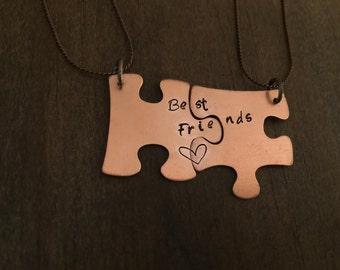 Best Friends Puzzle Necklace, Best Friend Necklace, Copper Puzzle Necklace, Puzzle Jewelry, Best Friend Jewelry, Best Friend Gift