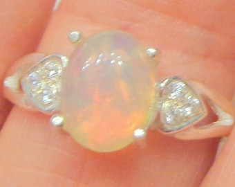 SALE, Sz 7, Welo Opal Ring,Natural Gemstone,Sterling Silver Ring,CZ Heart Design,Ethiopian Opal Ring,Valentine Ring,Fine Jewelry