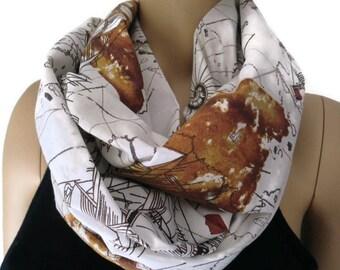 Seafarers infinity scarf,Columbus and Piri reis map,Ocean map scarf,sailor scarves,European cotton infinity scarf