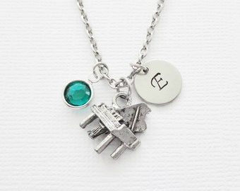 Piano Necklace Baby Grand Keyboard Instrument Orchestra Musical Birthstone Silver Initial Necklace Personalized Monogram Hand Stamped