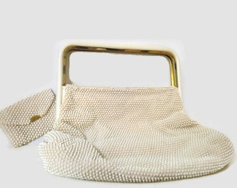 Vintage Purse Corde Caviar Bead White Ivory Lucite Handbag Beaded With Matching Coin Purse
