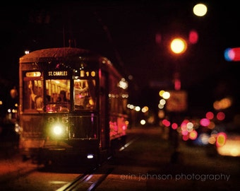 new orleans art street car photography vintage wall art brown home decor new orleans photogaph night photography St Charles at Night