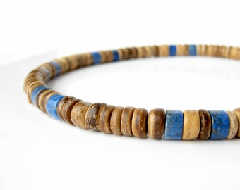 Men's jewelry - tribal necklace in wood and lapis lazuli - Tribal Lapis.