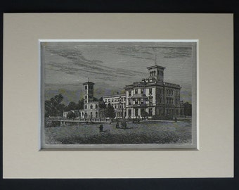 1880s Antique Print of Osborne House, Victorian Decor, Available Framed, Royalty Art, Queen Victoria, Isle of Wight Art British Stately Home