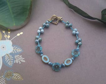 Blue Flower anklet