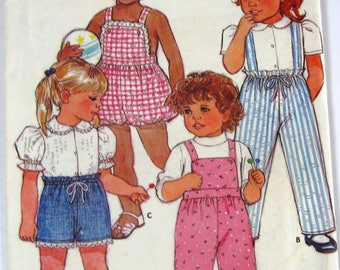 Toddler Girls Shorts, Pants and Overalls Sizes 1 and 2 Vintage 1980s Butterick Pattern 6486 UNCUT