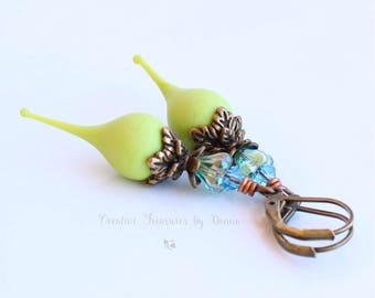 Green Brass Earrings Lime Green Lampwork Flower Pods Blue Green Czech Glass Bell Flowers Swarovski Crystals Boho Style