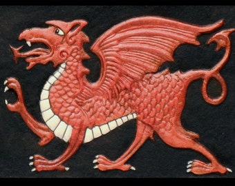 Welsh Dragon - Cast Paper - Fantasy art - Celtic Dragon - Celtic Knot -  Draco - Wyrm - Red Dragon - Wales - United Kingdom