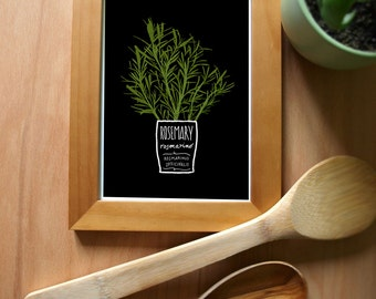 ROSEMARY Kitchen Art Print, Mediterranean Herbs Garden - high quality fine art print