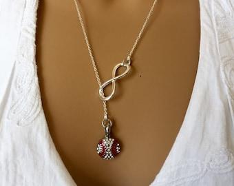 Unique Lariat rhinestone baseball necklace, baseball Jewelry, baseball Gifts,baseball team gift, team mom gift, rhinestone baseball necklace