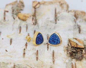 Gold dipped blue druzy triangle stud earrings, sparkly crystal earrings, golden bohemian jewelry, golden stone dainty post earrings