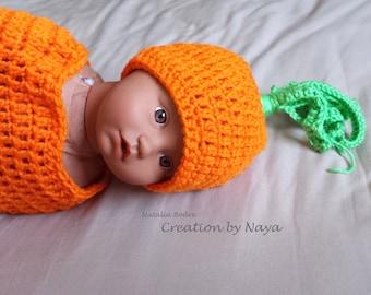 Carrot baby cocoon, birth announcement photo prop, crochet carrot newborn cocoon