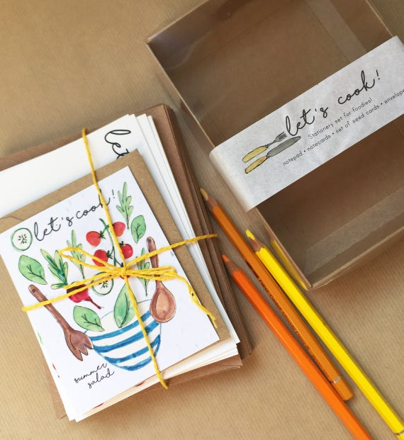 Stationery set for foodies - Plant the paper & watch it grow! - card for chefs - Wildflower - Kitchen Lover - Mother's Day - gift for her