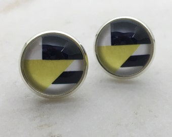 Yellow, black and white glass dome stud earrings. 14mm with surgical steel and nickel free posts