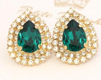 Emerald Earrings,Emerald Swarovski Stud Earrings,Emerald Crystal Earrings,Green Crystal  Earrings,Bridal Emerald Jewelry,Emerald Wedding