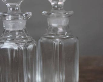 Pair Small Vintage Clear Glass Apothecary Bottles