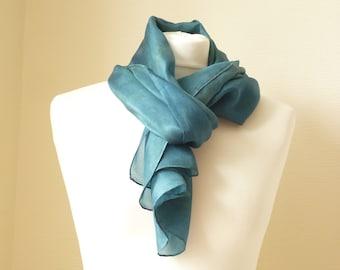 teal scarf jade scarf jade silk scarf blue green scarf blue green silk scarf teal silk shawl jade silk shawl naturally dyed scarf TerraLenta