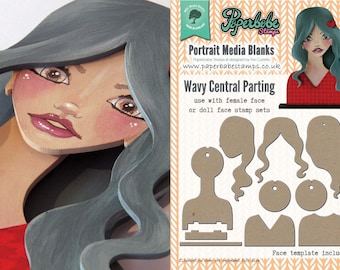 Portrait Media Blanks ~ Wavy Central Parting Kit ~ Paperbabe Stamps ~ MDF Substrate for mixed media and craft.