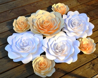 Set of 8 Ivory and White paper flowers for paper flower backdrop, home decoration.