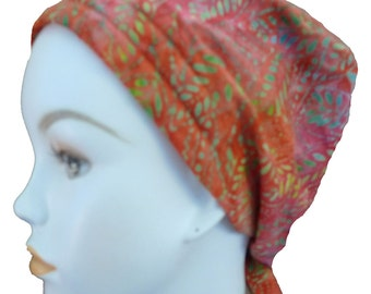 Colorful Hand Dyed Batik Cancer Hat Chemo Scarf Head Wrap Hair Loss Head Cover Bad Hair Day Calypso 19