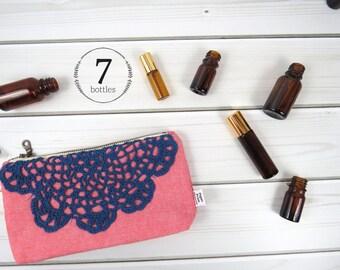 Essential Oil Case, Essential Oil Bag - HARPER in Tomato - linen and lace, doily cosmetic bag zipper pouch essential oil storage, oils