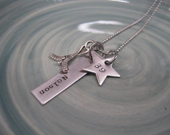 Stamped Jewelry - Hockey Necklace - Hockey Mom Necklace - Personalized Jewelry - Mommy Necklace