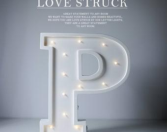 Letter P Lights Wooden Letter Lights, 3D Channel letters, wedding decoration lights, fancy lights for home In stock
