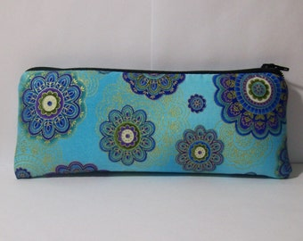 """Pipe Pouch, Blue Mandala Bag, Pipe Case, Pipe Bag, Glass Pipe Cozy, Padded Pouch, Zipper Bag, Hippy Bag, 420 Gift, Smoke Bag - 7.5"""" LARGE"""