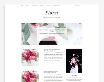 Floret • Feminine Blogger Template • Fashion Blog Theme • Lifestyle Blog Design.