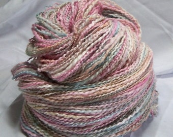 20% OFF SALE Prismatic Waters Blue Green Pink Tan hand dyed handspun yarn 438 yards 5.9 oz Merino Bamboo Metallic/Poly Two Ply