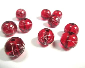 10 red, white translucent 8mm beads (1)