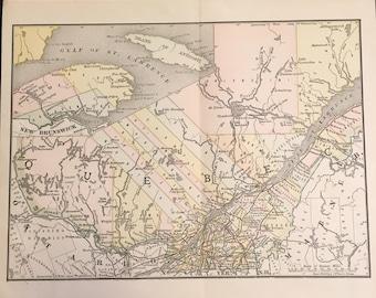 1890 Map of Quebec, Original Antique Color Map by Rand McNally