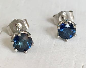 Blue Sapphire Platinum Earrings Six Prong Mounting