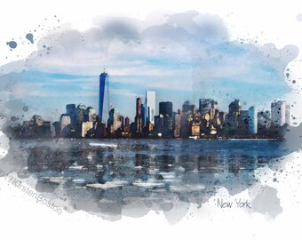 New York City Skyline by Kirsten Boston, Giclée, New York Print, Gift, NYC, Signed, Digital Art,  A5, A4, A3